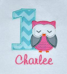 Birthday Girl Outfit - Monogrammed/Personalized First Birthday Owl Appliqued Onesie/Body Suit, Sizes 12mo or 18mo