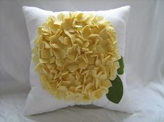 Hydrangea Pillow in White Linen and Light Yellow by dedeetsyshop, $35.00