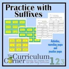 Practice with Suffixes by The Curriculum Corner | FREE | Centers | Practice Pages | Breaking down words