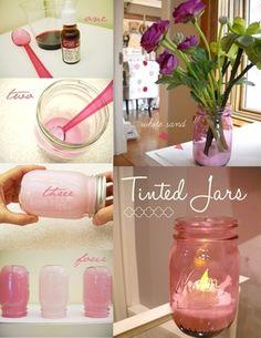 DIY: Tinted Mason jars bottl, idea, color mason jars diy, how to colour jars, tinted mason jars, food coloring, tint mason, tint jar, follow tutori