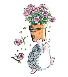 Hedge hog with a pot of flowers