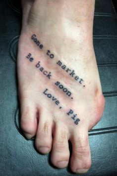 Know someone that could do this same tattoo.  ha ha -- I really don't like pinning feet, but this is pretty funny