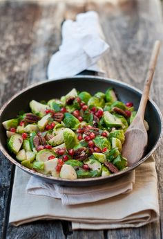 Brussel Sprouts with Pecans and Pomegranate seeds
