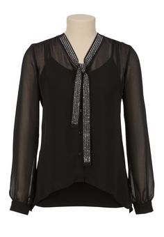 Rhinestone Embellished Tie Neck Blouse - maurices.com TRIXXI. Rock & Republic also makes a top like this at kohls. rhinestones, blouses, neck blous, cloth, tie neck, rhineston embellish, kohls, rocks, embellish tie