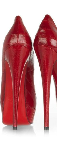 Lady in RED...Louboutins Red High Heel Back View