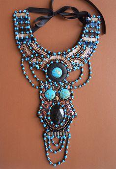 Blue turquoise  black bronze gold owl beaded bib by AniDandelion, $240.00