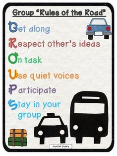 Here's a set of 5 different posters that explain the basic guidelines for students when working in groups.