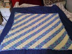 my first corner to corner (C2C) blanket i made for my grandson.  Pattern can be found at Redheart.com and they have a tutoriial for it there and also one at The Crochet Crowd