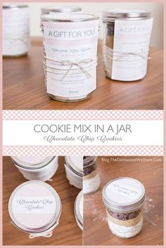 Chocolate Chip Cookie Mix In A Jar With Printables » The Connection We Share chocolate chips, cookie mix in a jar, chocol chip, chip cooki, bridal shower
