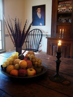 Antique Stone Fruit on table in a Colonial Setting