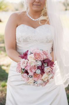 Love this gorgeous pink bouquet and the brooch accents! // photo by Jordan Weiland Photography, via Every Last Detail