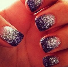 purple and silver nails -- prom