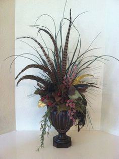 Christmas Silk Floral Arrangement with FEATHERS & BIRD - Bird Centerpiece - Holiday Faux Floral Arrangement by Greatwood Floral Designs.