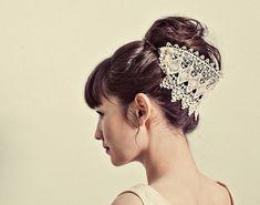 Venetian lace headpiece style 124 by mignonnehandmade on Etsy