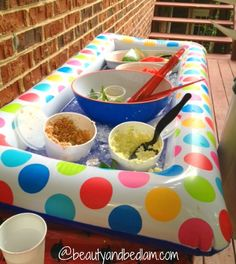 Such fun idea for summer entertaining. Raft and Kiddy Pools as a cooler