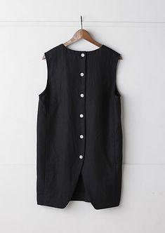 ロングベスト dress, black button