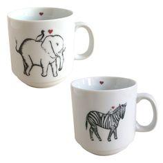 fabulously cute elephant and zebra mugs!