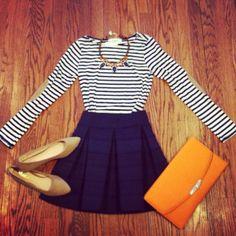 navy skirt, striped shirt, statement necklace, flats