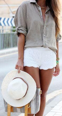 Boyfriend Shirt + Scalloped Crochet Shorts