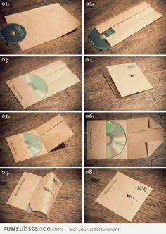 DIY CD Cover Folded With a Piece of Paper