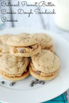 Oatmeal Peanut Butter Cookies filled with eggless chocolate chip peanut butter cookie dough filling