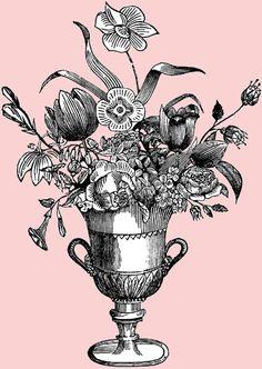 Free Digital Stamp - Ornate Flower Vase