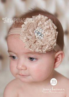 Baby HeadbandNewborn Headband Lace Baby Headband by ThinkPinkBows, $9.95