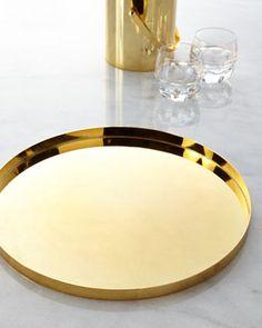Sleek gold tray. decor, trays, waterford elysian, elysian tray, accessori, horchow, gold tray, design idea, thing