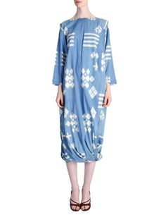 Vintage Blue and White Cotton Geometric Draping Dress by Issey Miyake
