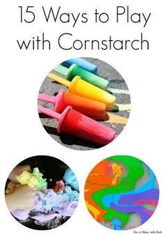 15 Ways to Play with Cornstarch (Cornflour) from Fun at Home with Kids - who knew cornstarch could be so pretty!