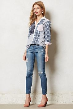 Patchworked Henley - anthropologie