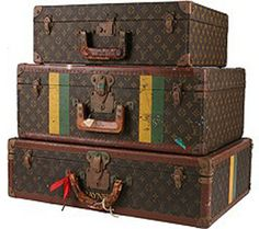 vintage suitcases for decorating | or decorating table?!…Here above a Louis Vuitton vintage luggage ...
