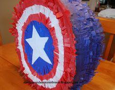 piñata idea, captain america, josh parti, fourth birthday, america shield, parti idea, diy captain
