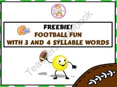 FREEBIE! Football Fun With Multisyllable Words from TwinSistersSpeech&LanguageTherapyLLC on TeachersNotebook.com -  (9 pages)  - Interactive activity ideas with a football theme to practice 3 and 4 syllable words.