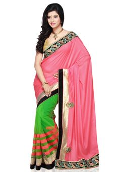 Old Rose and Green Faux Shimmer Georgette and Net Saree with Blouse @ $95.00