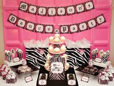 Zebra Print Dessert Bar Table