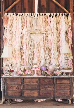 fringe fabric backdrop, rustic dessert table and dainty floral details #wedding #backdrops