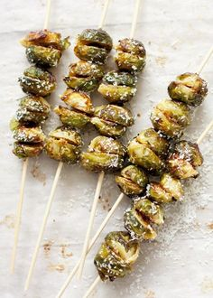 // roasted brussel sprout kabobs