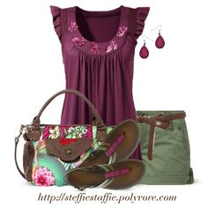 Plum, Brown & Army Green