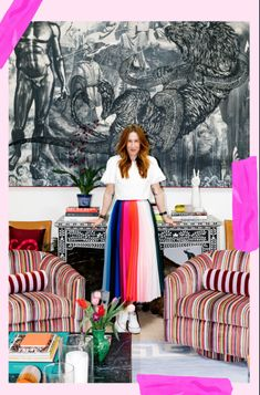 Bright rainbow skirt, velvet striped chairs and oversized artwork