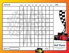 Printable Charts: Race Cars Theme