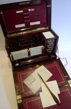 Antique Mahogany Writing Box / Stationery Cabinet c.1890