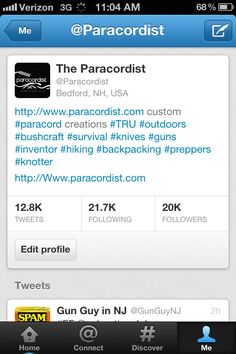 Http://www.paracordist.com Friends in #paracord, thanks 2 all who made my first year on Twitter so successful. Just hit 20k! Join and follow @paracordist I promise I'll #FollowBack soon!