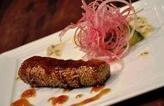 Sautéed tuna with sesame, guacamole sauce.  http://www.humblecrumble.com/reviews/michelin-star-teppanyaki/#