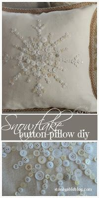 NO-SEW Snowflake Button Pillow... very easy and very detailed instructions.
