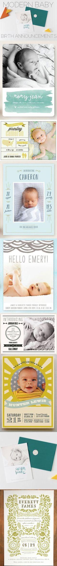 Modern Baby Birth Annoucements