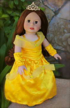 "Sleeping Beauty inspired ""Belle"" outfit fits American Girl. Doll by Harmony Club Dolls. Visit our store http://www.harmonyclubdolls.com"