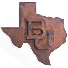 #Baylor and #Texas, a match made in heaven. Wood wall mount, painted to look like aged metal.
