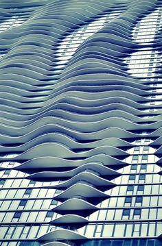 architecture facade, towers, the wave, waves, modern architecture, wall sconces, curv, aqua, design
