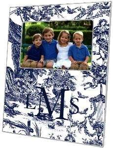Navy Toile Decoupage Photo Frame - Can be Personalized $58.00 (USD).  Product in photo is from www.wellappointedhouse.com